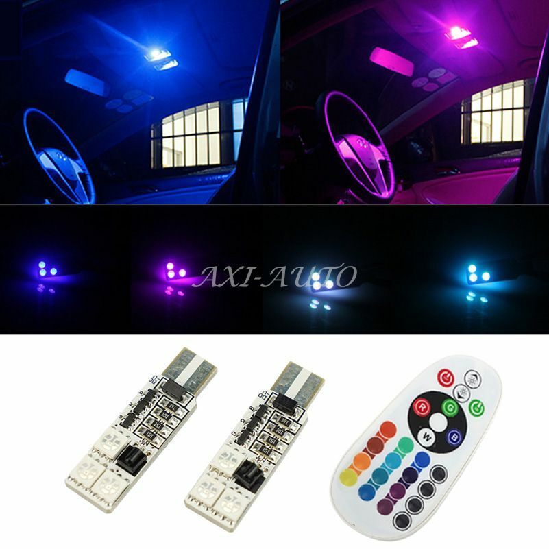 2x t10 rgb colors changing led lamp 12v 5050 car interior light remote control ebay. Black Bedroom Furniture Sets. Home Design Ideas