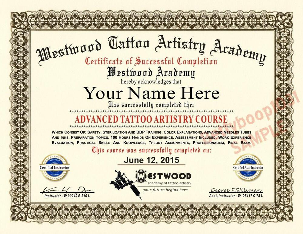 Diploma tattoo artistry academy course certificate prop for Tattoo artist license