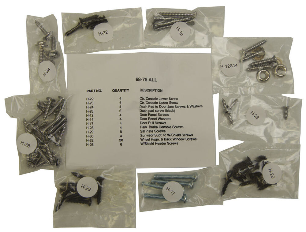 1968 1976 chevrolet corvette c3 interior screw kit set 72 pieces new ebay. Black Bedroom Furniture Sets. Home Design Ideas