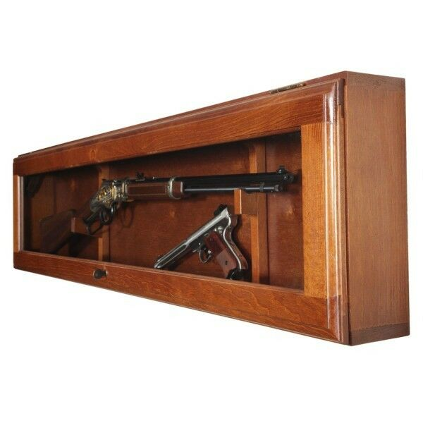 rifle display case gun cabinet horizontal wall mount glass wood locking storage ebay. Black Bedroom Furniture Sets. Home Design Ideas