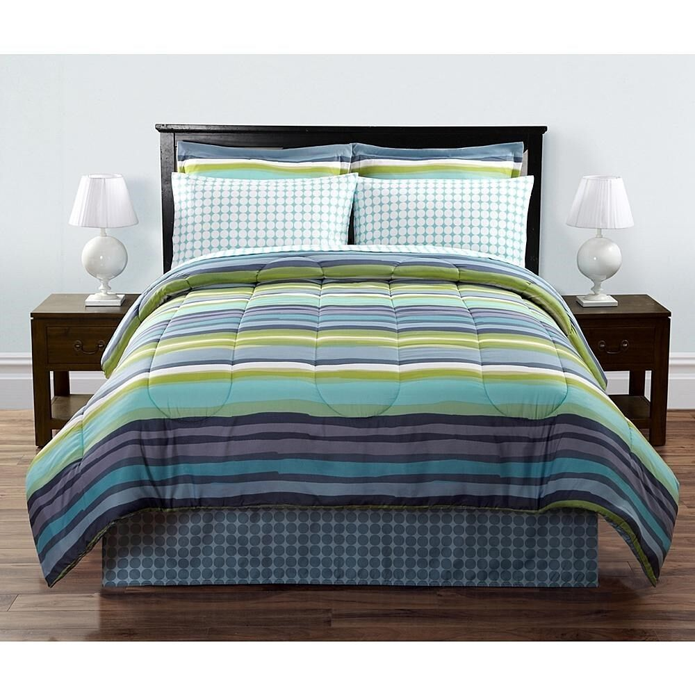 6 Pc Sears Bed In A Bag Quot Hayden Quot Blue Aqua Green White