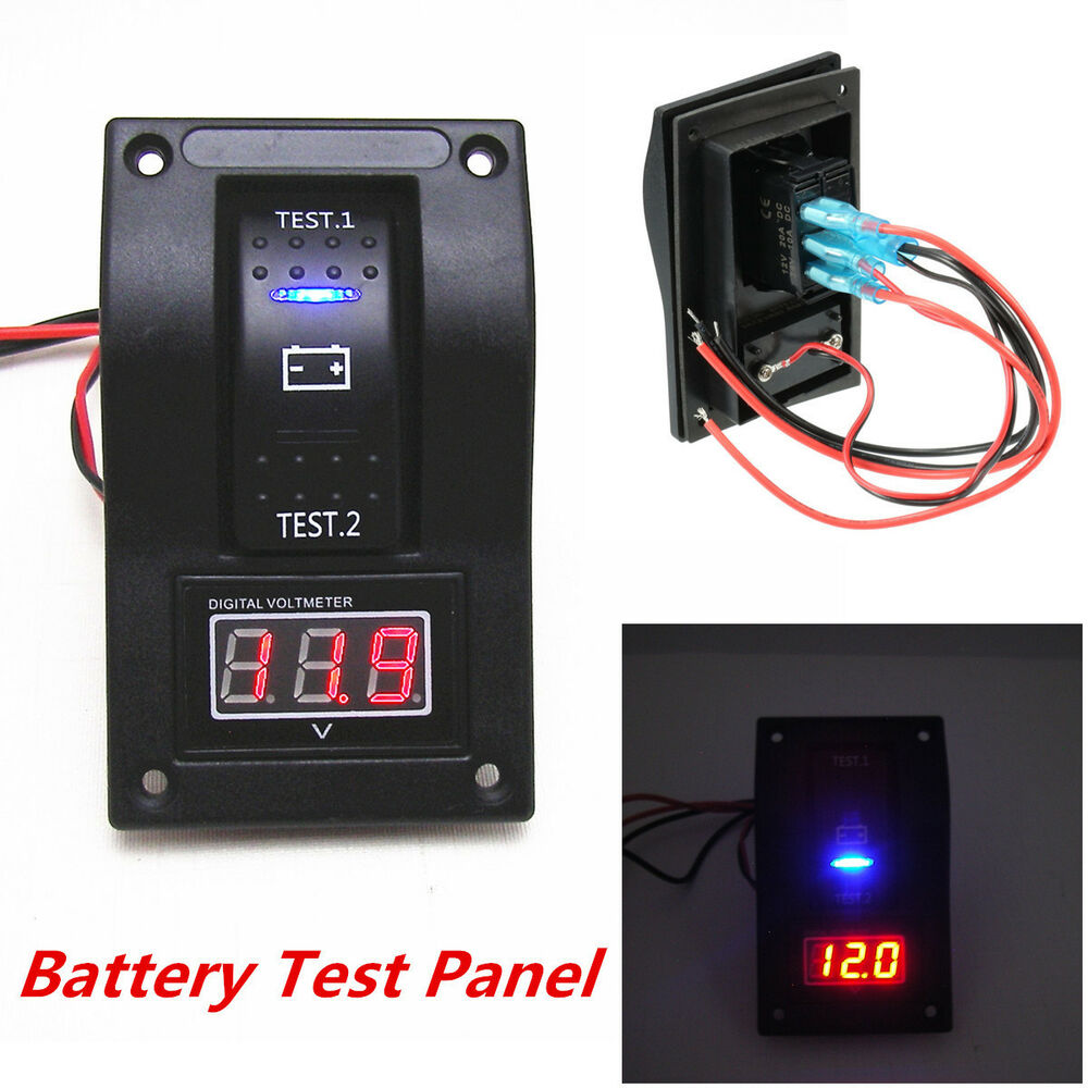 12v car van marine led voltmeter dual battery test panel rocker switch on off on ebay. Black Bedroom Furniture Sets. Home Design Ideas