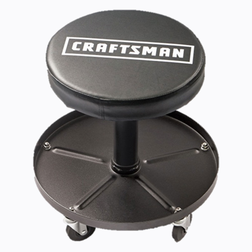 Mechanics work stool adjustable roll swivel creeper seat for Garage seat lens