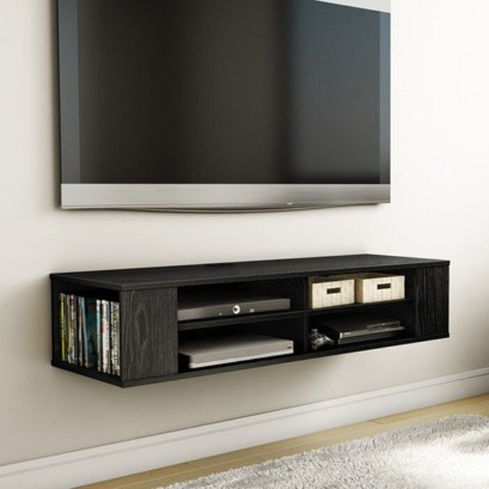 black wall mounted media console tv stand entertainment center floating cabinet ebay. Black Bedroom Furniture Sets. Home Design Ideas