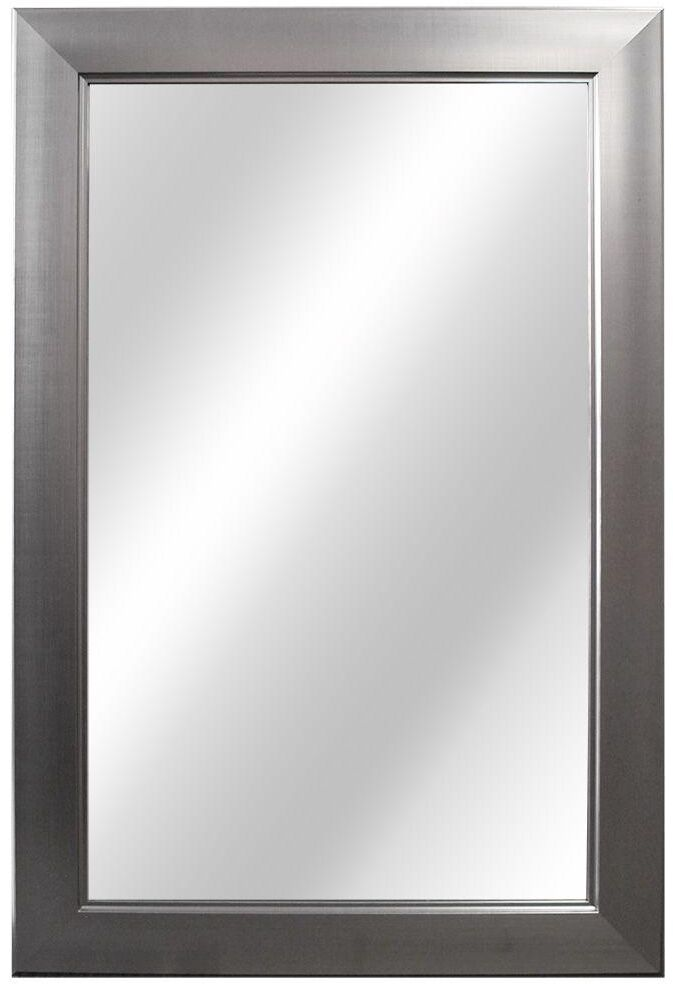 In rectangle shaped framed fog free wall mounted mirror in brushed nickel ebay for Bathroom mirrors brushed nickel