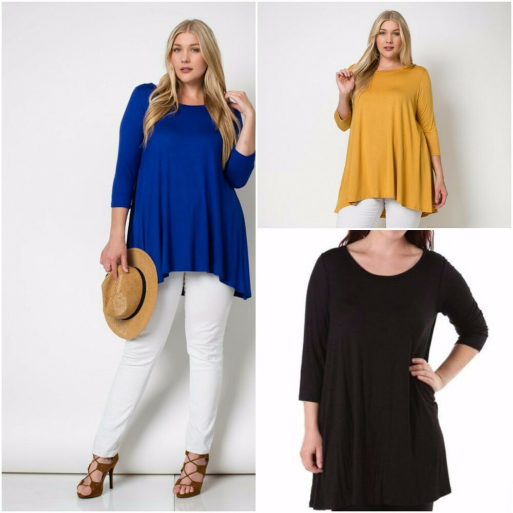 Plus size women 3 4 sleeve casual a line boatneck loose for Is a tunic a dress or a shirt
