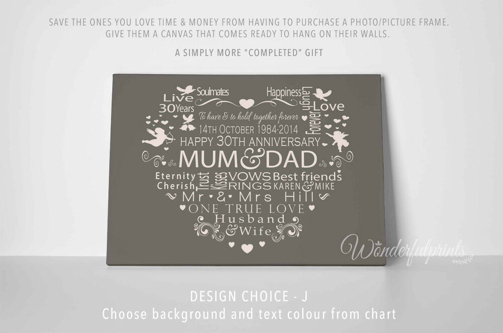 30th Wedding Anniversary Gifts For Mum And Dad: Mum And Dad Wedding Anniversary Gift 50th 55th 60th Word