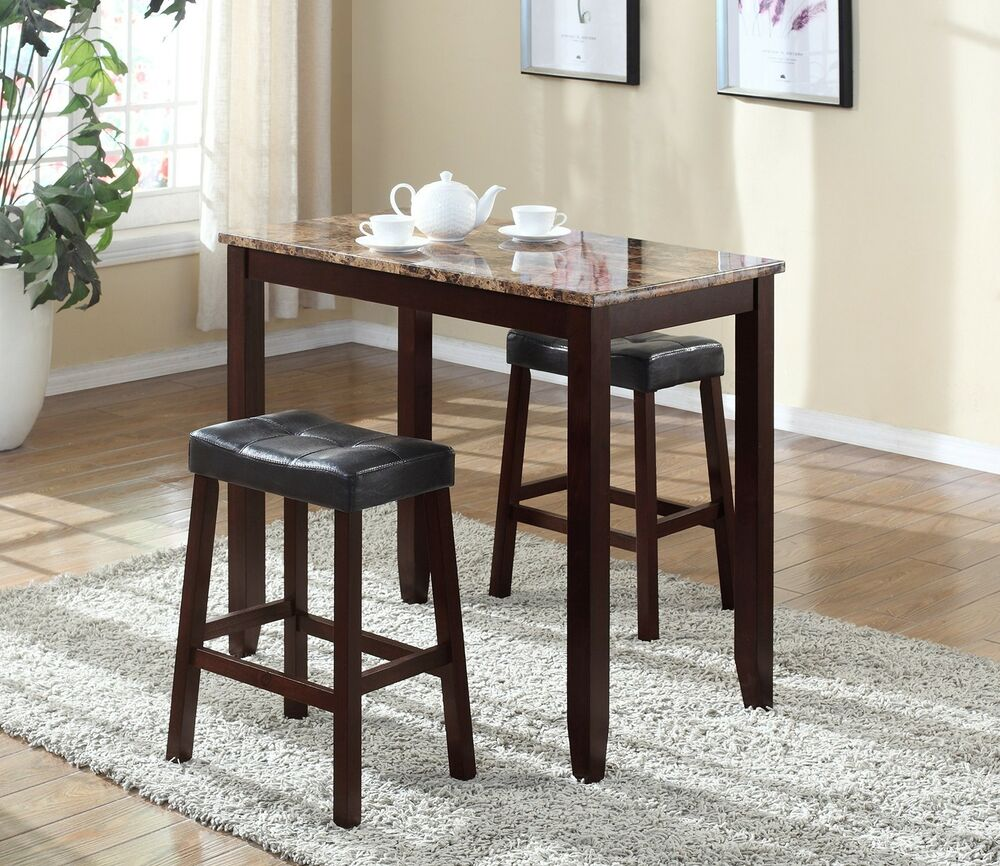 Pub table set 3 piece bar stools dining kitchen furniture for Kitchen counter set