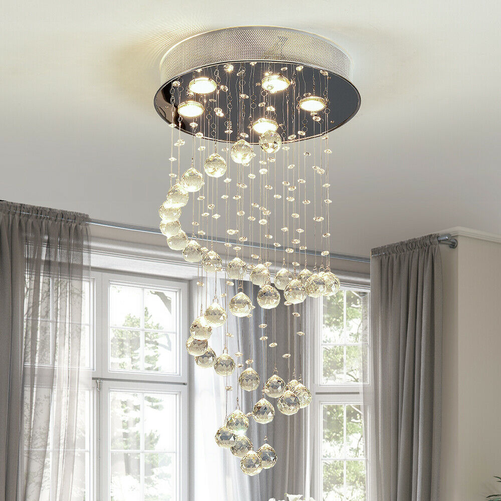 Modern Crystal Rain Drop Led Chandelier Lighting Fixture Flush Mount 5 Lights Ebay