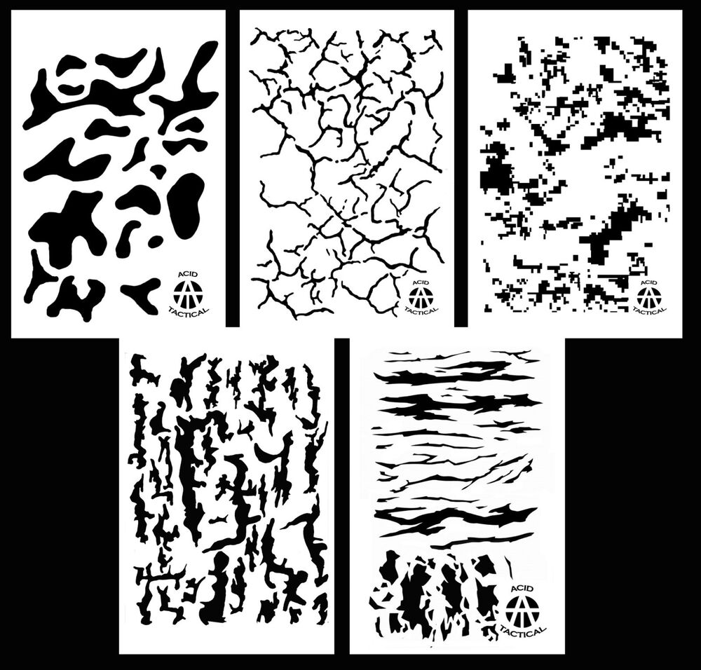 5pack Airbrush Camouflage Stencils Camo Duracoat 14