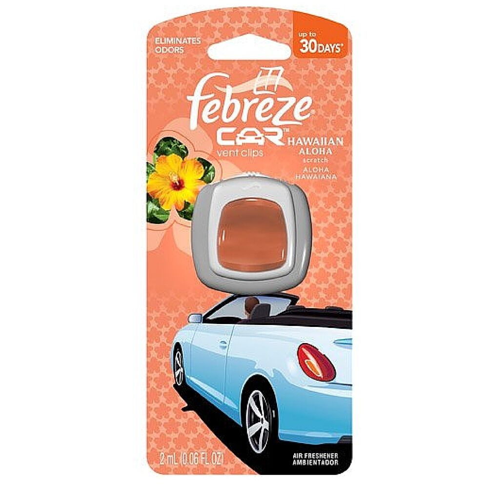 Febreze Car Vent Clips Air Freshener Odor Eliminator New: Febreze Car Vent Clip Air Freshener, Hawaiian Aloha 1 Ea