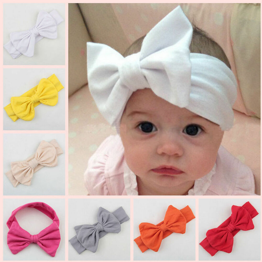 Toddler Baby Kids Girls Big Bow Headband Hairband Stretch