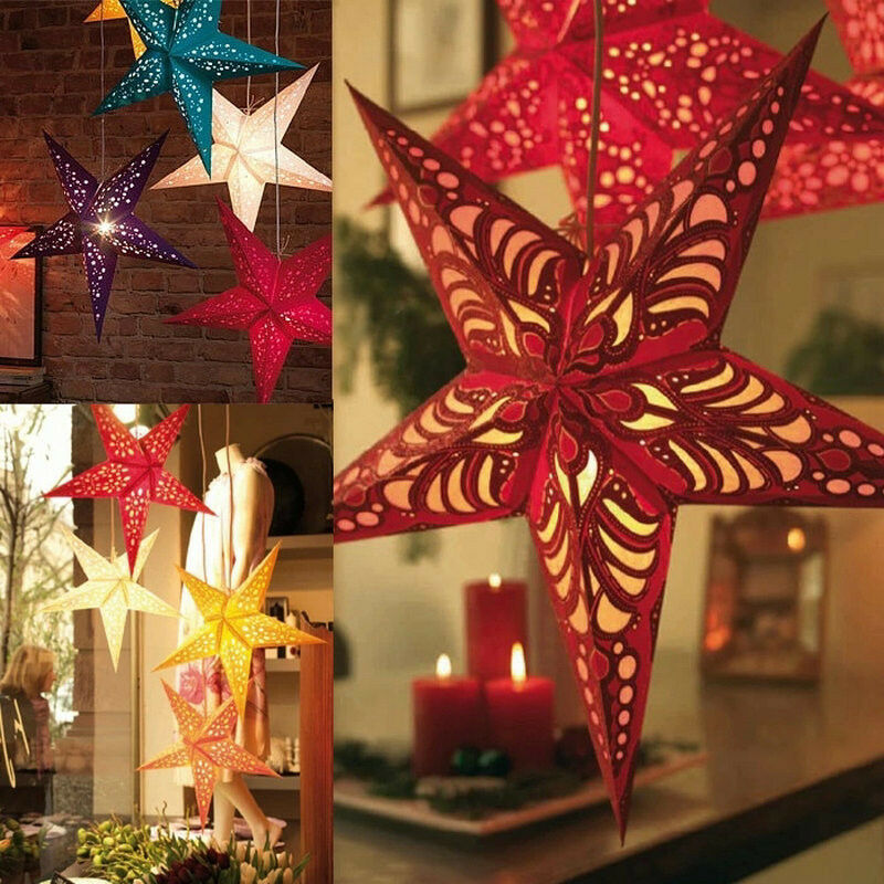 New 2016 xmas string hanging star christmas party decor for Hanging christmas decorations