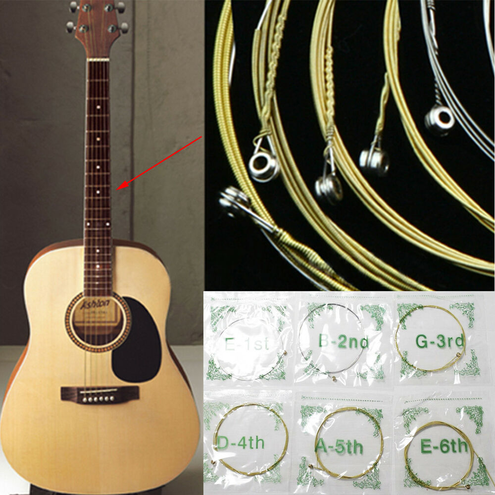 set of 6 acoustic classic steel guitar strings medium gauge replacement uk stock ebay. Black Bedroom Furniture Sets. Home Design Ideas