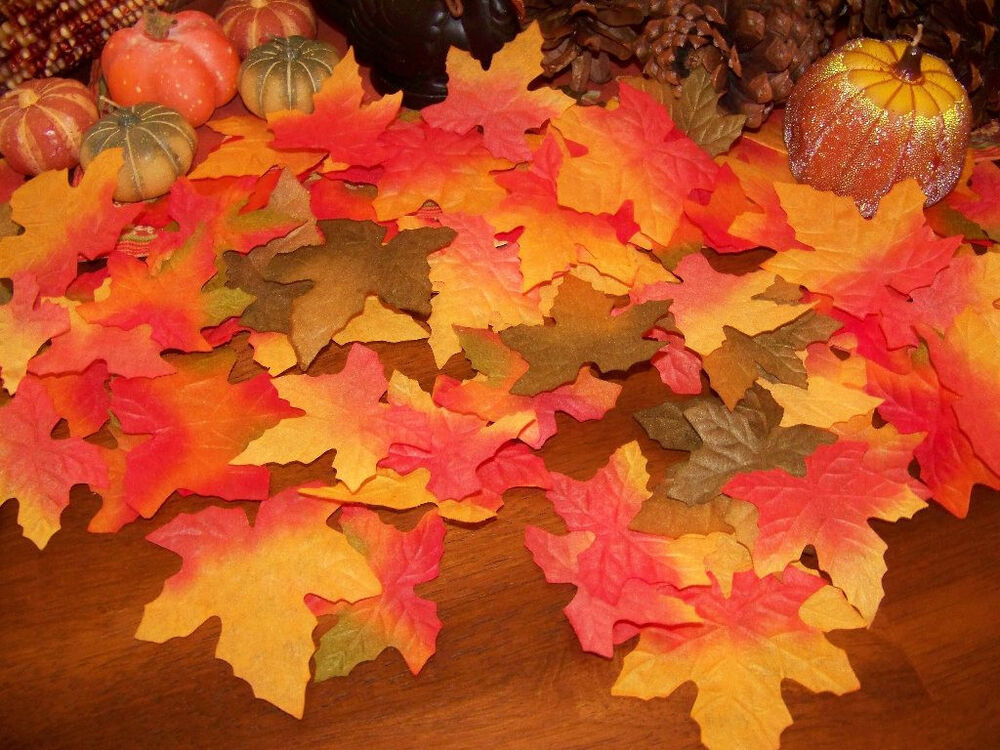 200 fall silk leaves wedding favor autumn maple leaf for Artificial leaves for decoration