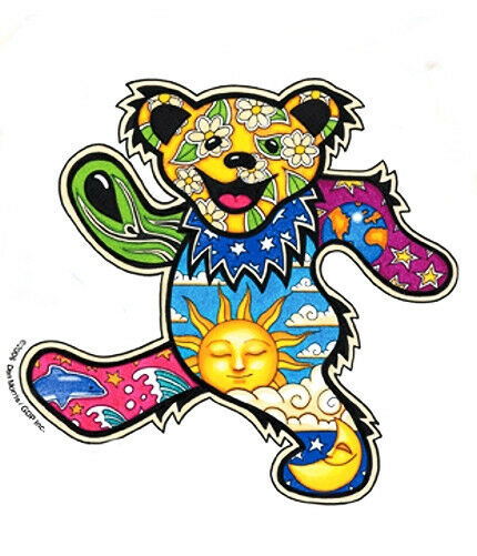 Sun Moon Dolphin Dancing Grateful Dead Bear Vinyl Sticker