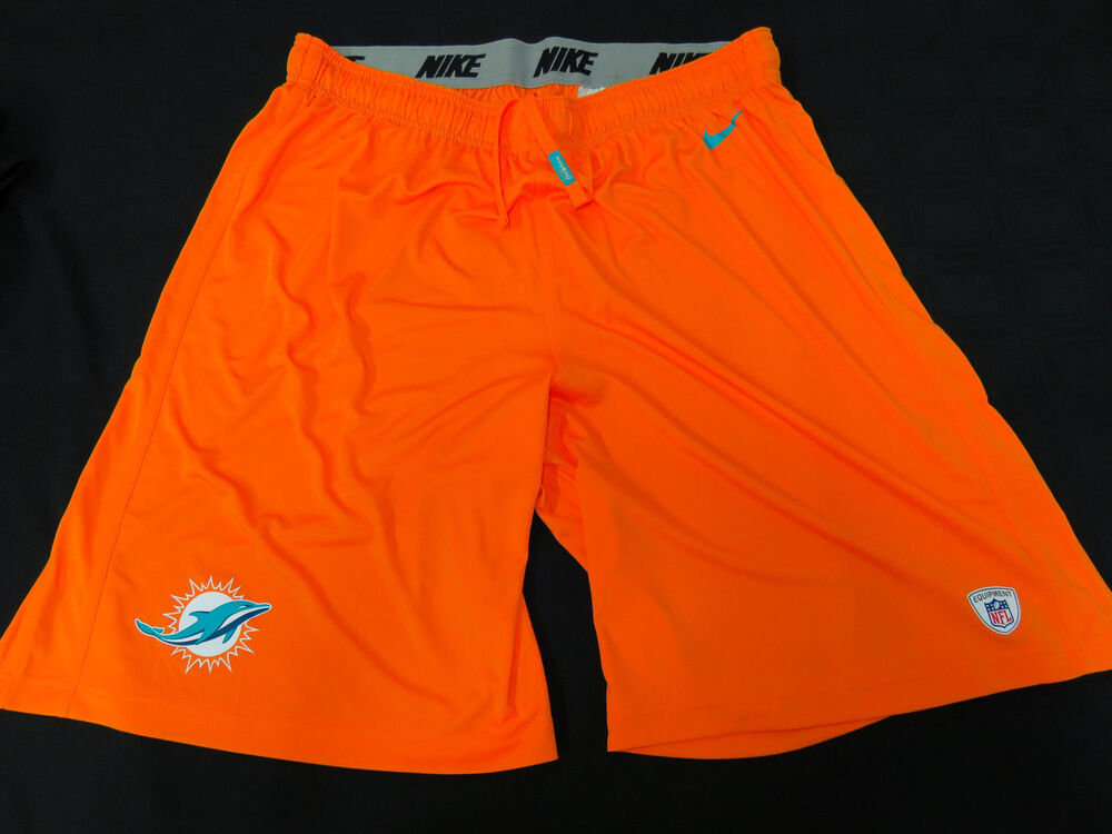 MIAMI DOLPHINS GAME USED ORANGE NIKE PRACTICE SHORTS GREAT