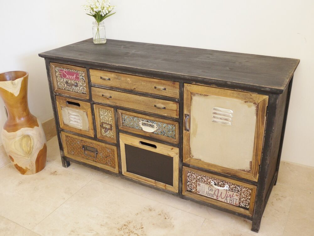 shabby chic painted sideboard cabinet chest retro style distressed sideboard ebay. Black Bedroom Furniture Sets. Home Design Ideas