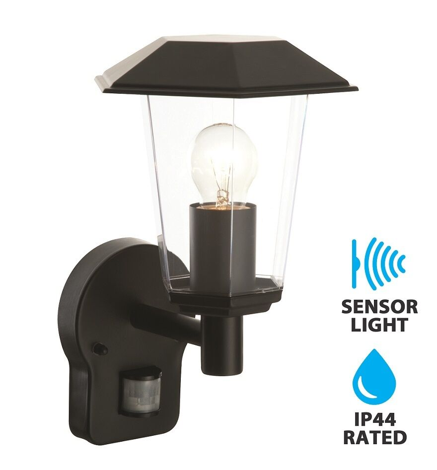 Modern Black IP44 PIR Motion Sensor Outdoor Lantern Wall Light Garden Porch NEW eBay
