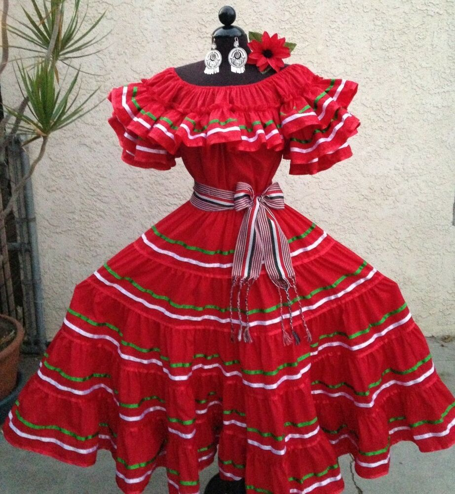 Amazing MEXICAN DRESS FIESTA 5 DE MAYO DAY OF THE DEAD OFF SHOULDER WRUFFLE