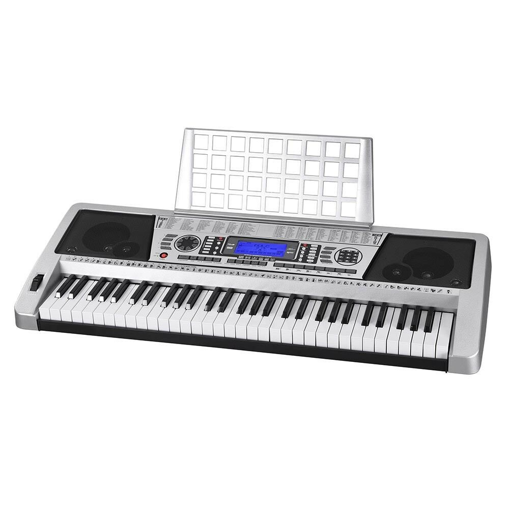 silver 61 key lcd display electronic keyboard digital electric piano music 637509408886 ebay. Black Bedroom Furniture Sets. Home Design Ideas