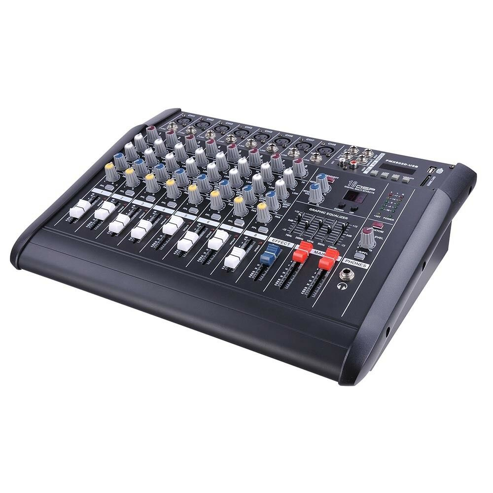 pro 8 channel powered audio mixer power mixing dj amplifier amp w usb slot 110v 637509408954 ebay. Black Bedroom Furniture Sets. Home Design Ideas