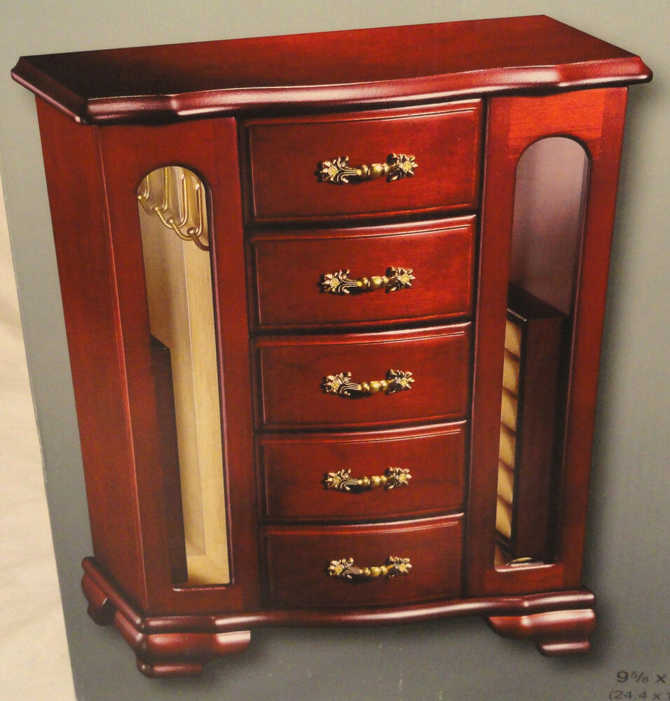 jewelry box cherry finish wooden jewelry box 5 drawers 2 doors 3349
