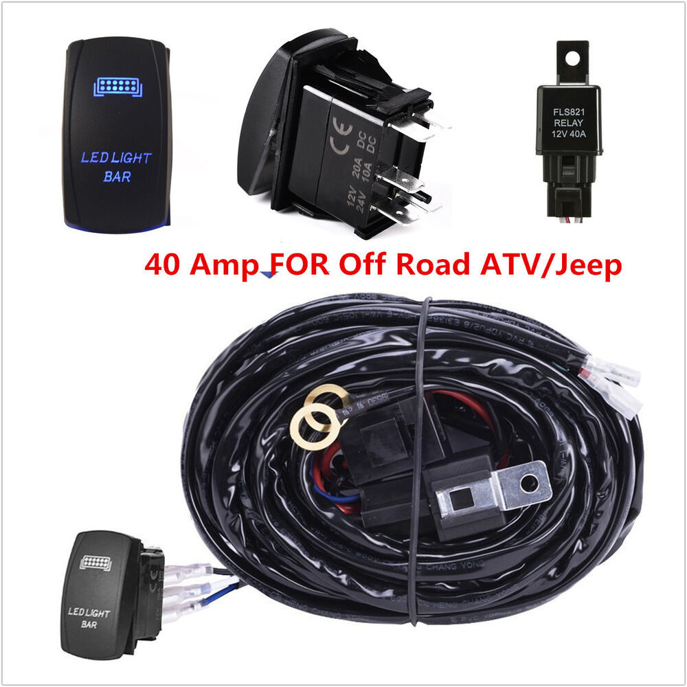 40 amp off road atv jeep blue led light bar wiring harness. Black Bedroom Furniture Sets. Home Design Ideas
