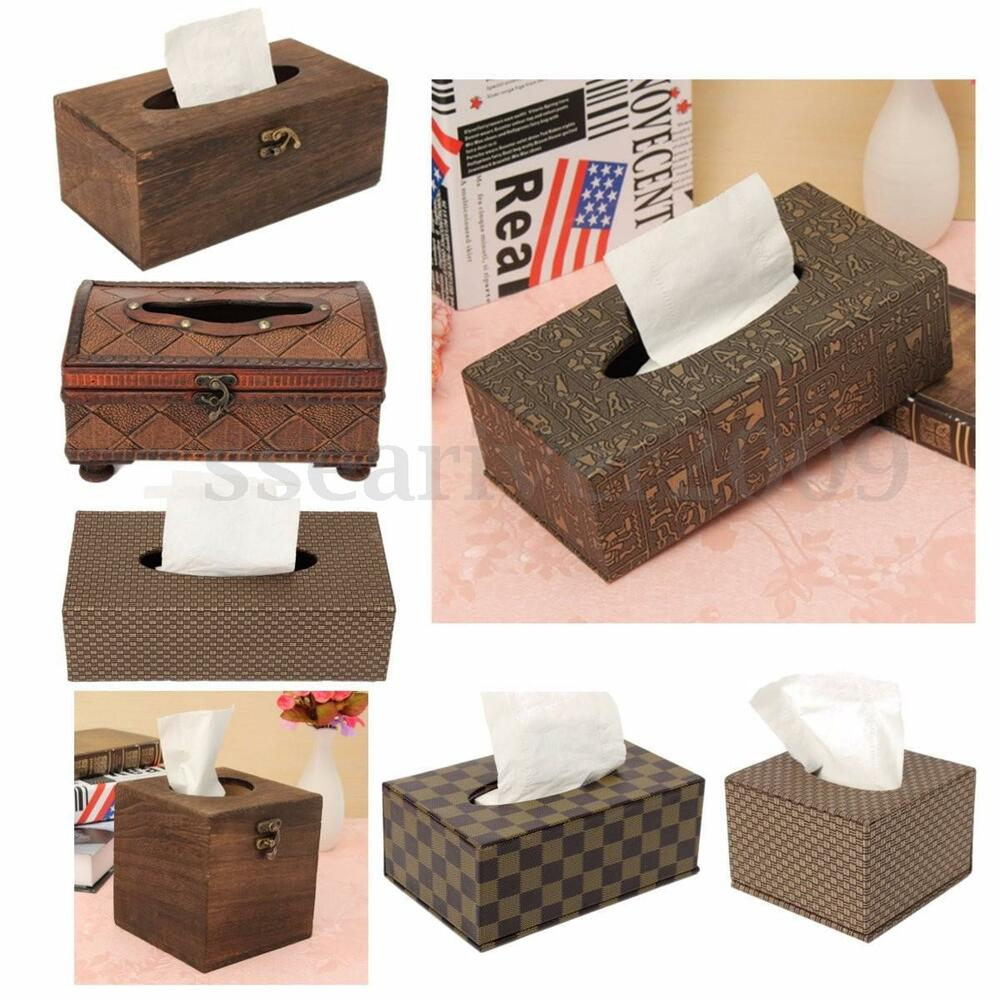Wood PU Leather Tissue Box Paper Holder Case Napkin Cover Room Hotel ...