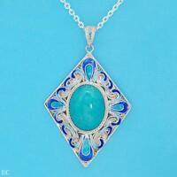 925 STERLING SILVER TURQUOISE & ENAMEL NECKLACE