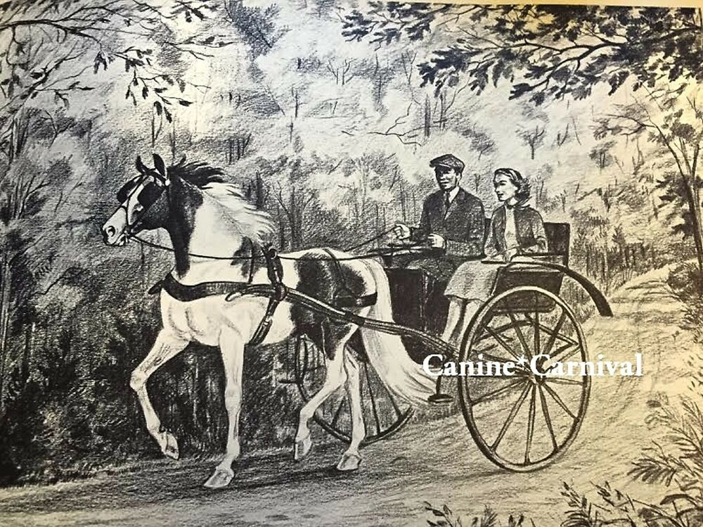 Jeanne Mellin Vintage Horse Art Print Driving Buggy Cart