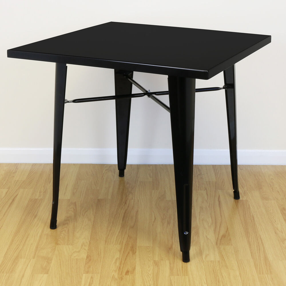 Black Square Kitchen Table: Square Black Gloss Metal Kitchen/Dining/Cafe Table 2/4