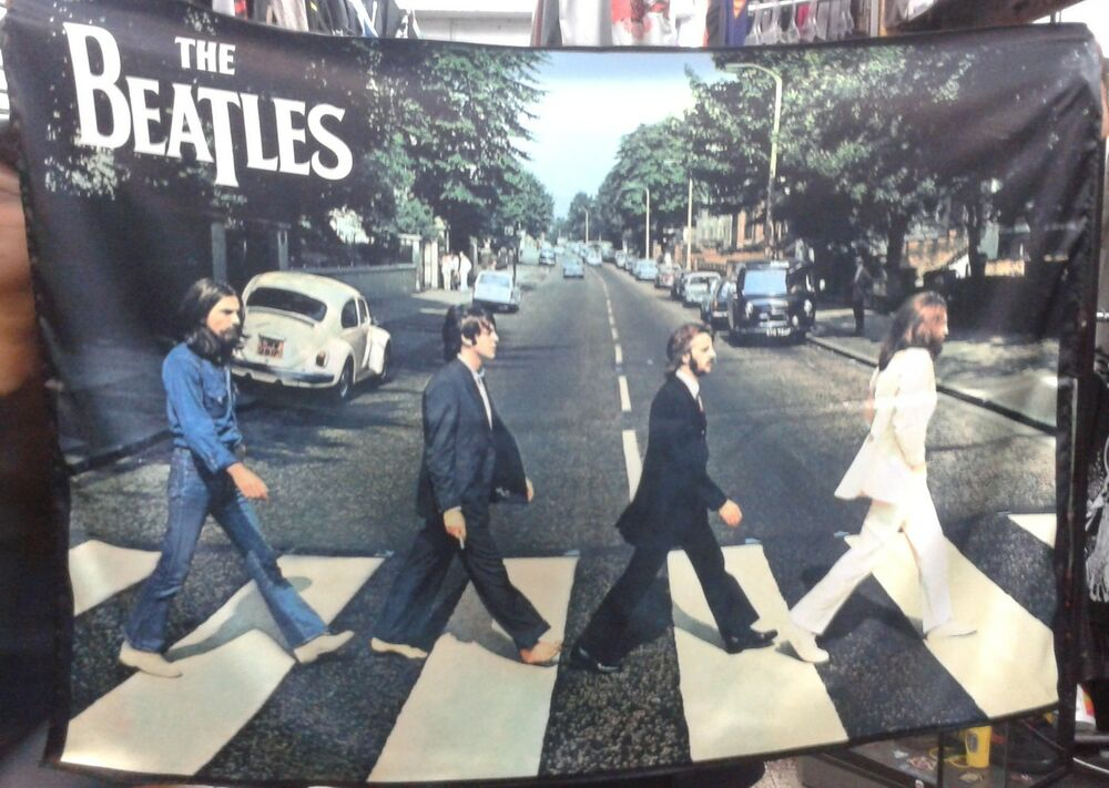 the beatles abbey road flag cloth poster wall tapestry banner cd lp ebay. Black Bedroom Furniture Sets. Home Design Ideas