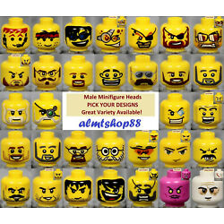 Kyпить LEGO - MALE Minifigure Heads - PICK YOUR STYLE - Yellow Print Faces Head People  на еВаy.соm