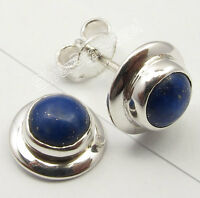 925 Sterling Solid Silver NAVY BLUE LAPIS LAZULI DECO Studs Post Earrings 0.9 CM