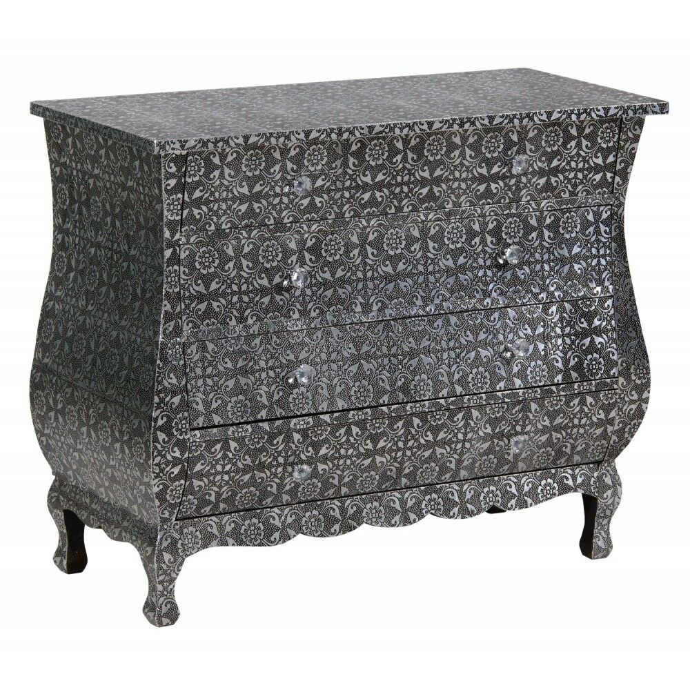 Black Silver Embossed Metal Furniture 4 Drawer Chest Of Drawers Ebay