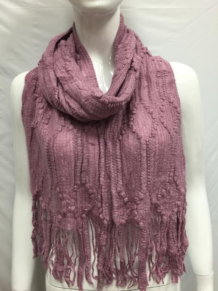 knitted winter scarf thick bulky cold season color plum ebay