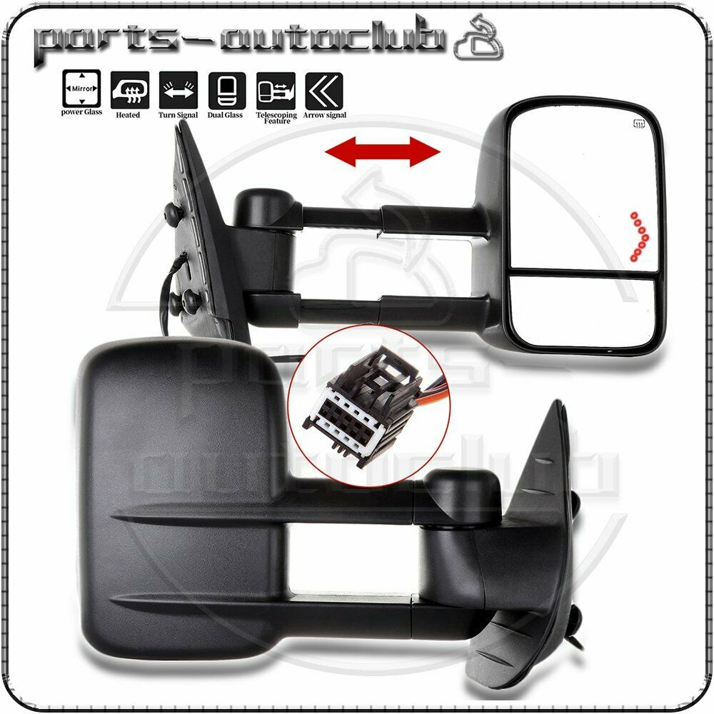 towing power heated led signal mirrors 2007 14 chevy gmc side mirror pair set ebay. Black Bedroom Furniture Sets. Home Design Ideas