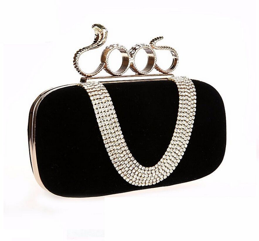 Women New Crystal Snake Clutch Knuckle Rings Clutches Four