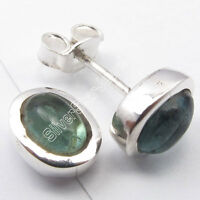 .925 Solid Silver 5x7 MM Oval GREEN APATITE EXQUISITE Stud Post Earrings 0.9 CM