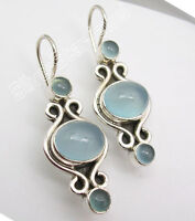 925 SOLID Silver Hot Selling CHALCEDONY Designer PRETTY NEW Earrings 1/2 inches