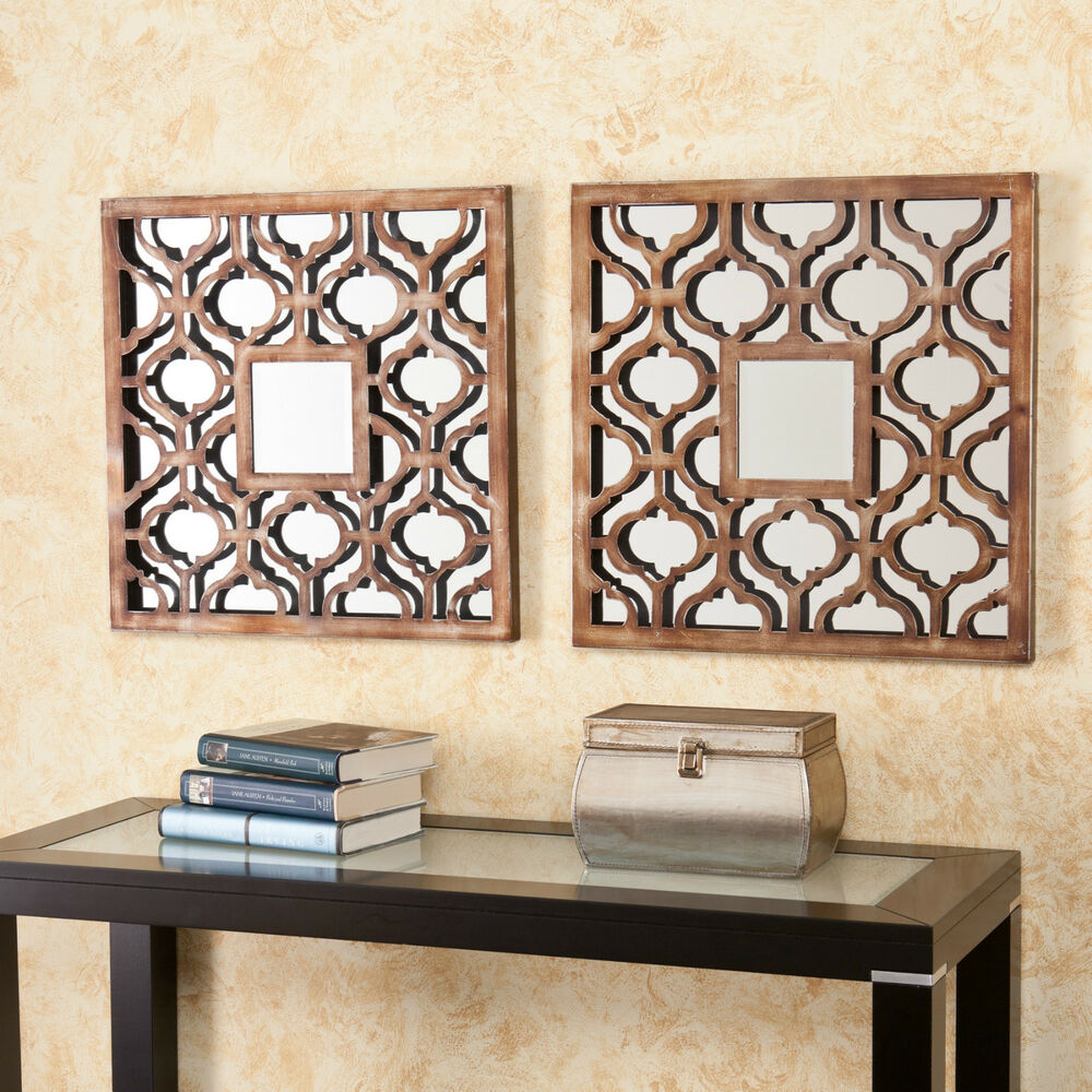 Jwm41599 2pcs rubbed bronze finish wall mount decorative for Decorative wall mirrors