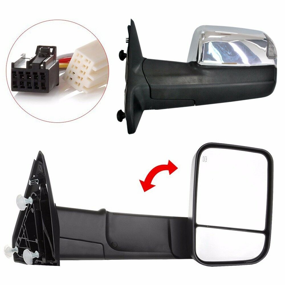 Chrome Towing Mirrors Pair Power Heated For 2009 15 Ram 1500 Pickup