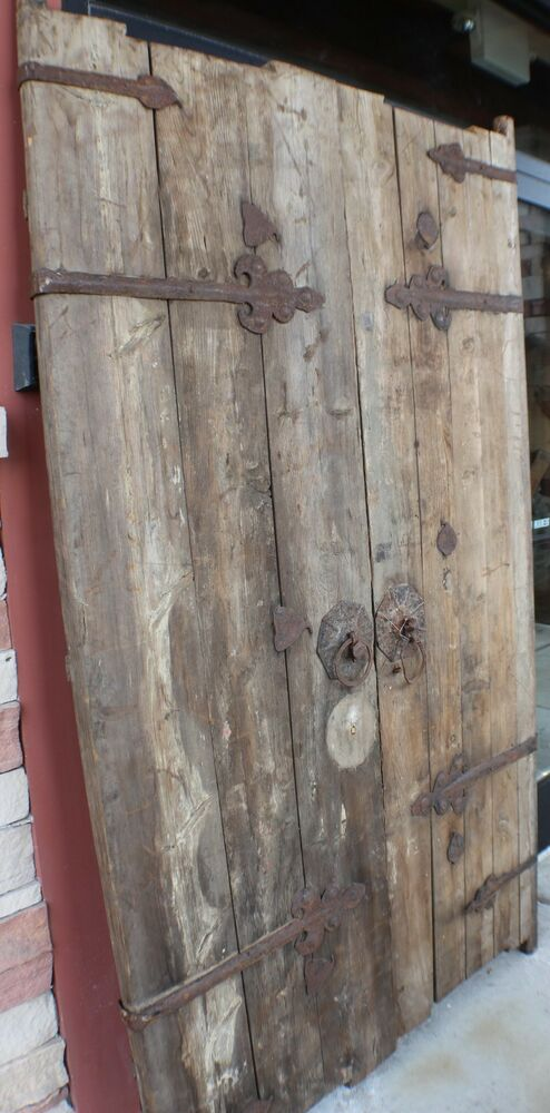 86 Quot H 200 Years Old Antique Door Rusted Metal Accents Elm