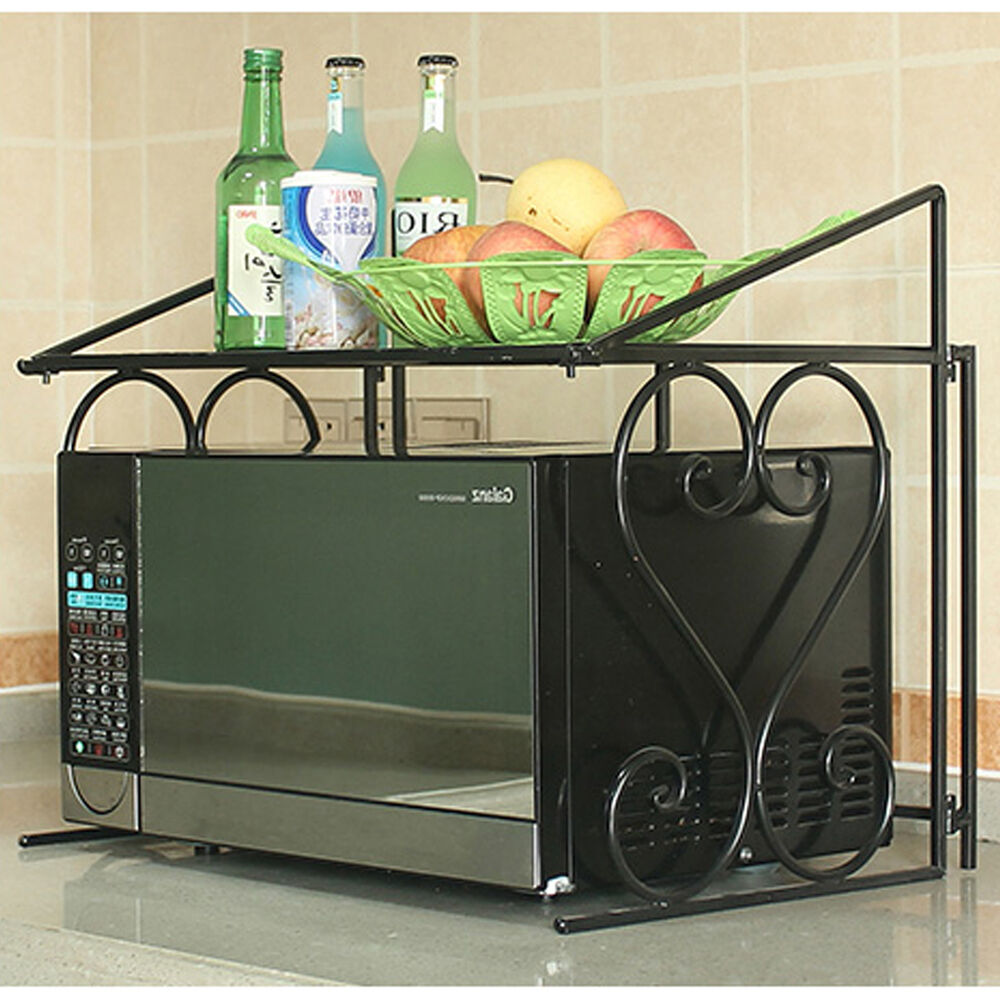2 Tier Metal Multifunctional Microwave Oven Rack Household