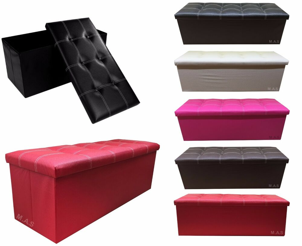 Faux Leather Ottoman Pouffe Storage Toy Box Foot Stools 3