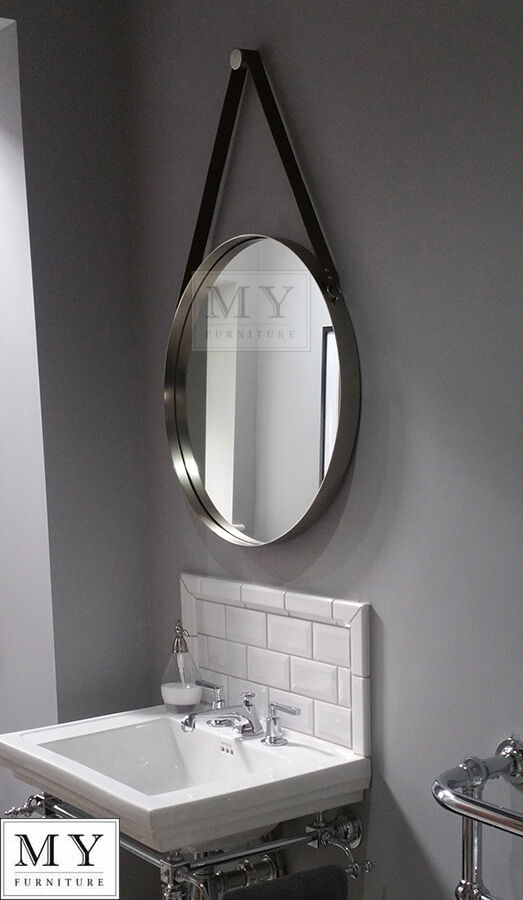 large bathroom wall mirror with leather 20231