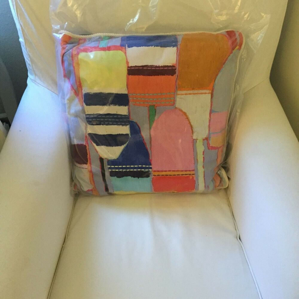 ONE Anthropologie Southport Pillow Emboridered Nautical Accent Throw Buoy Summer eBay