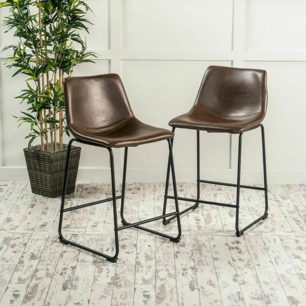 Idash Vintage Style Brown Counter Stool Set Of 2 Ebay