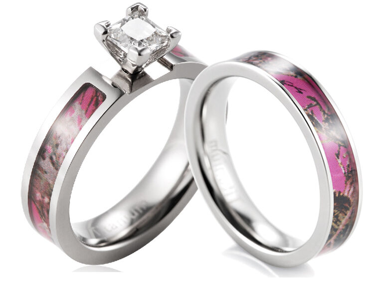 pink camo wedding rings titanium pink muddy tree camo ring cz setting engagement 6572
